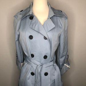 Baby Blue Raincoat Windbreaker Trench coat jacket